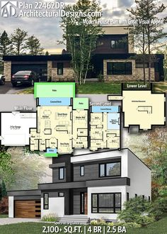 square foot TS ~ Architectural Designs Home Plan gives you 4 bedrooms, baths and sq. Dream House Plans, Modern House Plans, Modern House Design, House Floor Plans, Modern Floor Plans, Bedroom Floor Plans, The Plan, How To Plan, House Blueprints