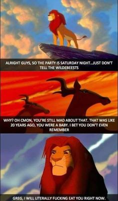 Funny memes A Lion Never Forgets. Simba Disney, Walt Disney, Disney Lion King, Disney Fun, Disney And Dreamworks, Disney Stuff, Cute Disney Quotes, Funny Disney Memes, Disney Jokes