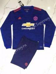 2016-17 Manchester United LS Away Blue Soccer Uniform