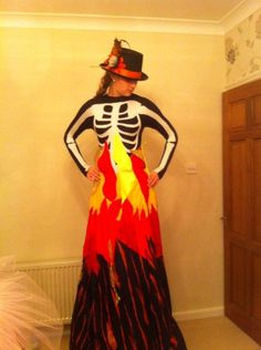 One of our new Halloween costumes nearly complete- the Burning Bonfire!