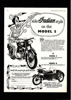 JULY 1955 INDIAN BRAVE MODEL S,R, 250 SV MOTORCYCLE WATSONIAN SIDECAR.MAG ADVERT | eBay