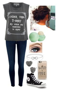 """""""Wild+Free"""" by awesomel4125 on Polyvore featuring River Island, Wildfox, Converse, Casetify, Betsey Johnson and Eos"""