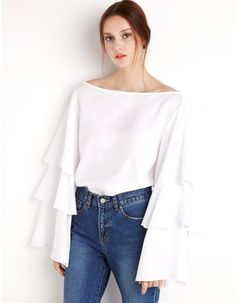 White Ruffed Tier Top