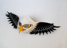 OOAK American Bald Eagle Animal Leather Mask - Black and White with Wings - Wall Art Halloween Costume Carnival Party - Children and adults.