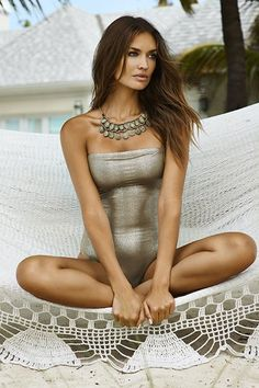 Oro Strapless One Piece #love #silver #pilyQ #summer