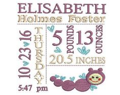 Birth announcement embroidery design Baby birth by MyMemoryDesign