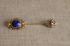 Vintage Lapis Lazuli Jewelry Pin by MotherandSonVintage on Etsy, $10.00