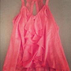 LC Coral Top    Beautiful For a Summer Date  Coral Lauren Conrad Summer Top.   Lace Detail on the Back, Ruffle Detail on the front.   Perfect for a summer date.  Excellent Condition. LC Lauren Conrad Tops Tank Tops