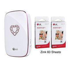 Mntgener8 LG Pocket Photo4 PD269 Portable Instant Mobile Mini Printer With Zink 60 Sheets Jewelry Heart ** Be sure to check out this awesome product. (Note:Amazon affiliate link)