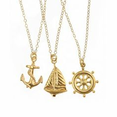 Emily Elizabeth All Aboard Necklace Trio. These pieces are perfect worn one at a time or all at once! Their simplicity makes them so versatile, and the tiny charms are just so adorably nautical.