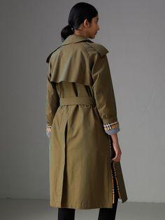 Side-slit Tropical Gabardine Trench Coat in Bright Olive - Women | Burberry Australia - cell image 2