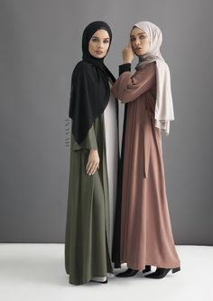 INAYAH | Khaki Georgette Kimono + Warm Mocha Georgette Kimono  Check out our georgette collection of hijabs http://www.lissomecollection.co.uk/Georgette-hijab-black