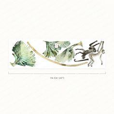 Scimmie della giungla Decalcomanie da parete ad acquerello   Etsy Vinyl Decals, Wall Decals, Kids Room Wall Stickers, Eco Friendly Paper, Watercolor Walls, Jungle Theme, 1 Piece, Vines, Wallpaper
