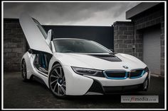 BMW i8 with the doors open.