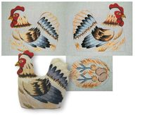 Needlepoint canvas of hen with two sides and bottom. Dragon Tales, Needlepoint Canvases, Rooster, Needlework, Hand Painted, Embroidery, Fabric, Painting, Animals