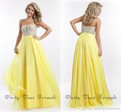 Buttercup Yellow Chiffon Long Prom Dress Aline by WeddingBless ...