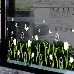 Cricut Window Cling – Make Temporary Window Decals – Dekokränze – Primavera Custom Window Clings, Rear Window Decals, Window Decals For Business, Painted Window Art, Decoration Creche, Disney Home Decor, Custom Windows, Old Windows, Chalkboard Art