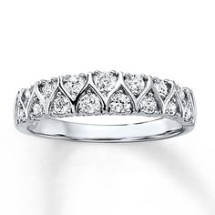 This fabulous anniversary band sparkles with two rows of round diamonds set in white gold. The ring has a total diamond weight of carat. From the Now & Forever® Bridal Collection. Diamond Total Carat Weight may range from - carats. Bridesmaid Jewelry Sets, Wedding Jewelry, Wedding Rings, Bridal Jewellery, Diamond Rings, Diamond Jewelry, Kay Jewelers Bridal Sets, Anniversary Bands, Heart Jewelry