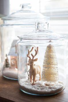 Living With Kids: Candice Stringham ⋆ Design Mom Rustic Christmas, Winter Christmas, Christmas Holidays, Christmas Decorations, Christmas Jars, Miniature Christmas, Holiday Decorating, Christmas Scenes, All Things Christmas
