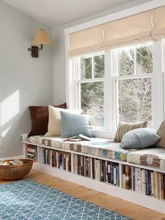 window bench with book storage