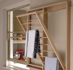 Wall mounted beadboard clothes airer dryer. Dry up to 14 items of laundry in not time at all.