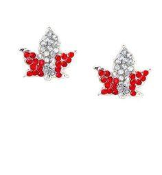 Canada Day Crystal Maple Leaf Stud Earrings