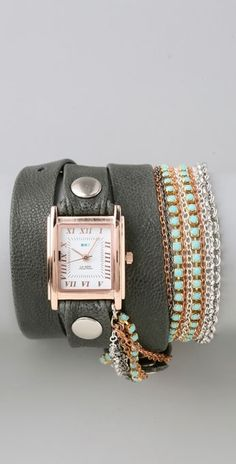 La Mer Collections Turquoise Crystal Chain Wrap Watch thestylecure.com