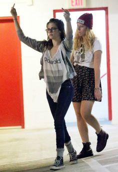 Kristen Stewart wearing Converse Chuck Taylor All Star High Tops, Lookmatic Morgan Rx Glasses and Headband Apparel Polaroid Tank.