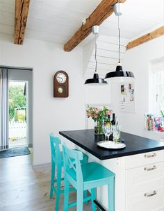 Simple with a pop of color. House of Turquoise: Swedish Kitchen Turquoise Bar Stools, Turquoise Chair, Turquoise Kitchen, Turquoise Furniture, Aqua Kitchen, House Of Turquoise, Ikea Barstools, Kitchen Stools, Kitchen Remodeling