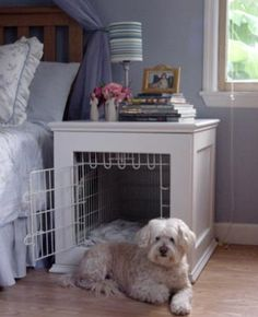 home. pet. end table. dog kennel. bed. diy.