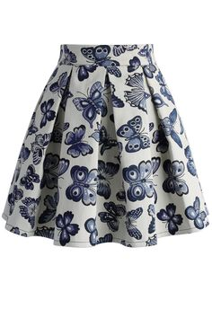 Fond for Butterflies Pleated Skirt - Skirt - Bottoms - Retro, Indie and Unique Fashion Blue Pleated Skirt, Chicwish Skirt, Unique Fashion, Womens Fashion, Fashion Fashion, Led Dress, Moda Casual, Cotton Skirt, Printed Skirts