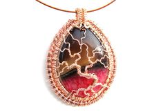 """Tree of Life Pendant  - Beautiful Red and Charcoal Brown Agate Cabochon with Rose Gold Wire - 2"""" x 2.5"""" - Cord Included"""