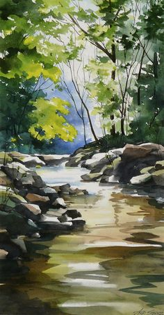 landscape art Glowing With The Flow Painting by Art Scholz Watercolor Scenery, Watercolor Landscape Paintings, Abstract Landscape, Landscape Nursery, Watercolor Artists, Abstract Paintings, Oil Paintings, Watercolor Landscape Tutorial, Landscape Design