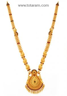 22K Gold '2 in 1' Peacock Long Necklace (Temple Jewellery): Totaram Jewelers: Buy Indian Gold jewelry & 18K Diamond jewelry