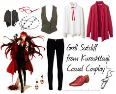 Casual cosplay of Grell Sutcliff (from Black Butler or Kuroshitsuji anime series)-- character inspired outfit