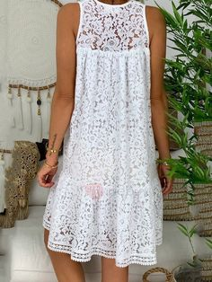 V-Neck Above Knee Hollow Casual Lace Dress – monyberry Spring Dresses, Day Dresses, Casual Dresses, Vestidos Sexy, Lace Tunic, Dress Brands, Neue Trends, The Dress, Bodycon Dress