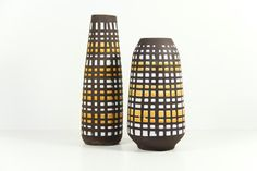 East German Vases Instant Collection Geometric Strehla Black Yellow White Spots.   from Love My Vintage Bazaar