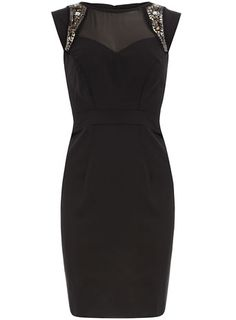 This @Dorothy_Perkins black dress with a mesh yoke & embellished shoulder detail is perfect for a evening out $35, get it here: http://rstyle.me/~bZ3J