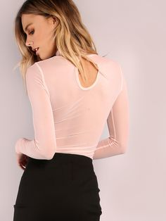 Online shopping for Sheer Keyhole Back Bodysuit PINK from a great selection of women's fashion clothing & more at MakeMeChic.COM.