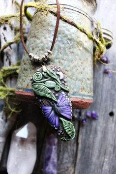 Handcrafted Clay by TRaewyn Jewelry. Butterfly Necklace with Prehnite