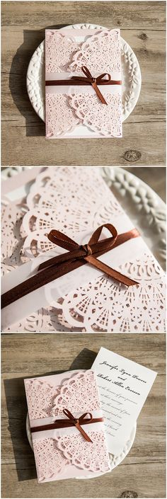 pink and brown wedding colors inspired elegant laser cut wedding invitations