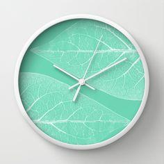 BLATT WERK I Wall Clock by Pia Schneider [atelier COLOUR-VISION]  #wallclock #clock #time #home #decor #walldecor #art #illustration #nature #Leaf #Leaves #Turquoise #Cyan #White #structures #modern #timeless #piaschneider #ateliercolourvision