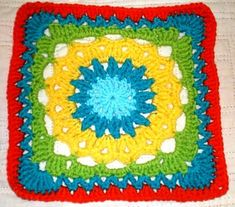 "Drop In the Bucket 12"" Square Motif By Janie Herrin - Free Crochet Pattern - (ravelry)"