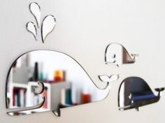 Shiny new whale mirrors in a family of three that come with removable adhesive. These shatterproof mirrors are made from perspex and won't leave marks on the wall. Whale Bathroom, Bathroom Kids, Kids Bath, Basement Bathroom, Master Bathroom, Whale Nursery, Nautical Nursery, Nautical Theme, Baby Baby