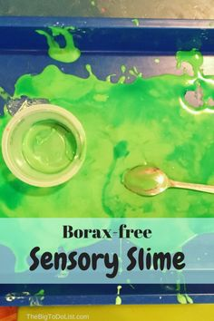 Recipe for slime without borax to offer a non-toxic sensory experience for kids.
