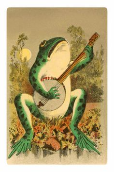 Vintage illustration anthropomorphic frog playing banjo with the moon. Description from pinterest.com. I searched for this on bing.com/images