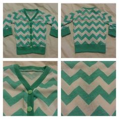 """Baby Knit Cardigan in Chevron Print. $22.00, via Etsy. (No tutorial) - If paired with """"manly"""" clothes, this could be really cute for church."""
