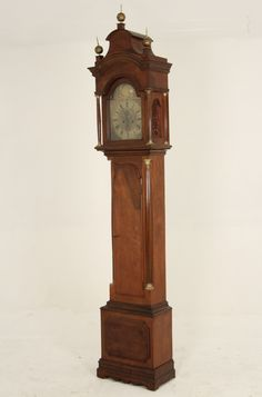 "FINE 18TH C. ENGLISH MAHOGANY LONGCASE GRANDFATHER CLOCK HAVING BRASS DIAL, SWEEPING SECOND HAND AND CALENDAR HAND, MAKER OF ON DIAL, GEORGE CLARKE LEADEN HALL, LONDON;  106""H X 19.5""W X 11""D"