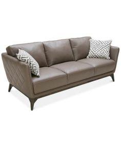 Kourtney Quilted Side Mushroom Leather Sofa   Macys.com Close Out. 87/36