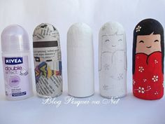Pesquei na net : Reciclagem: pap kokeshi Plastic Bottle Crafts, Recycle Plastic Bottles, Recycled Bottles, Recycled Crafts, Bottle Painting, Bottle Art, Art N Craft, Diy Art, Christmas Crafts For Adults
